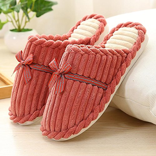 Fankou paio di pantofole di cotone inverno uomini e donne pieni di cartoni animati incantevole soggiorno coppie di spessore, antiscivolo ,36-37, rosa chiaro