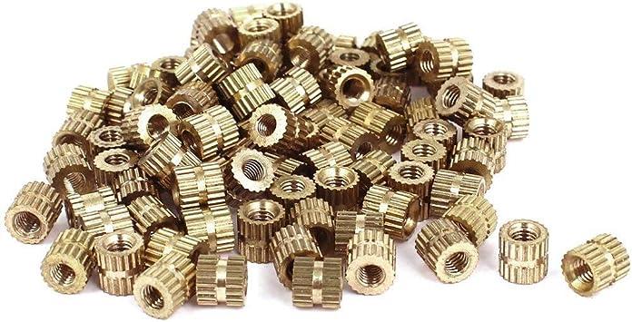 OD -5mm L Metric Threaded Brass Knurl Round Insert Nuts 100pcs M3x5mm