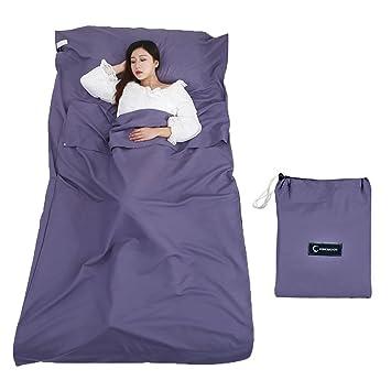 Queta cabaña Saco de Dormir Saco de Dormir Saco de Dormir con Bolsa Ideal para Interior hostels Cabañas albergues Camping Exterior (azul): Amazon.es: ...