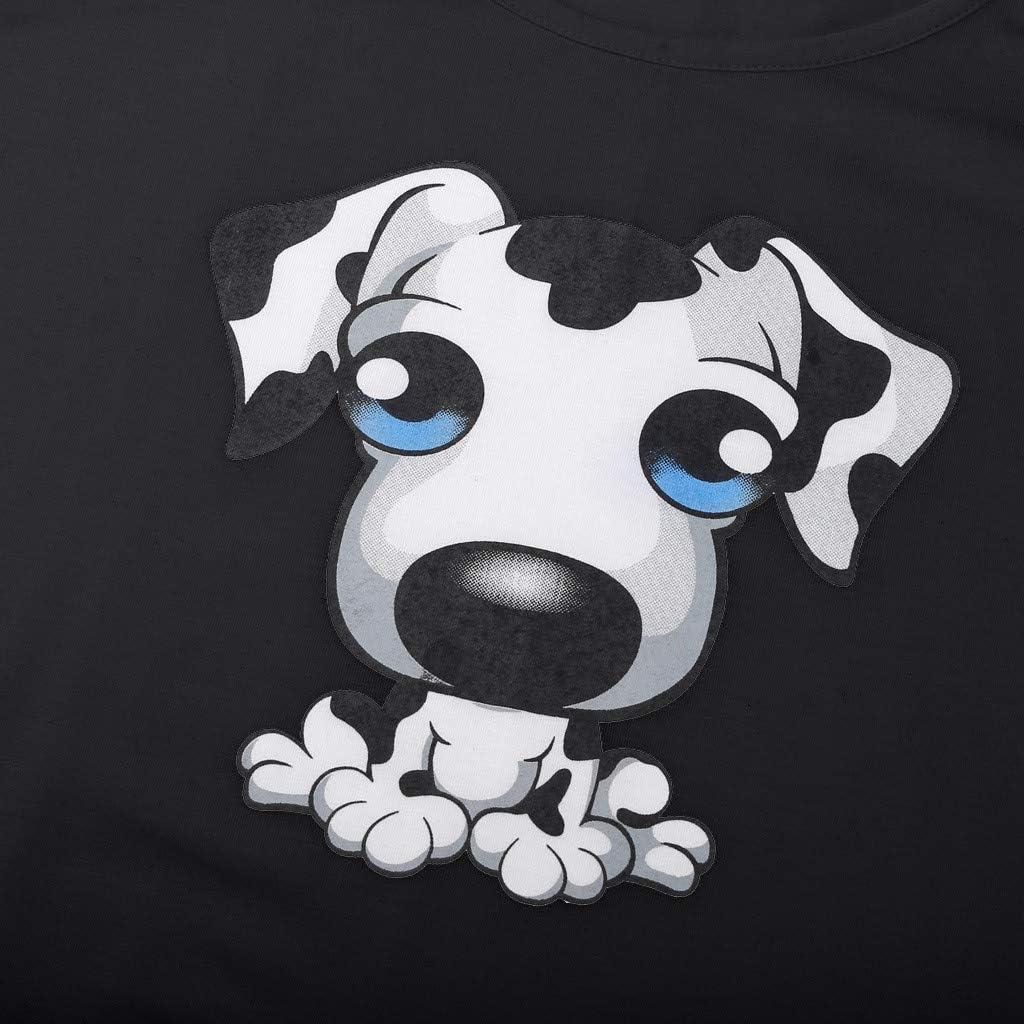 FRCOLT Fashion Womens Cartoon Dog Printing O-Neck Sleeveless Vest Loose Shirt Tops