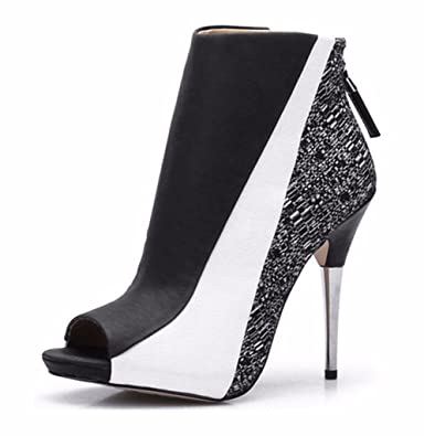 4a5c192ea3f CAMSSOO Women s Peep Toe Stiletto High Heel Ankle Boots Platform Sandals  Zip Shoes Black White Soft