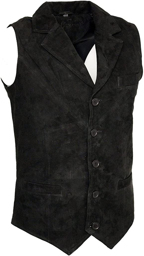 Men/'s Smooth Goat Suede Classic Smart Black Leather Waistcoat