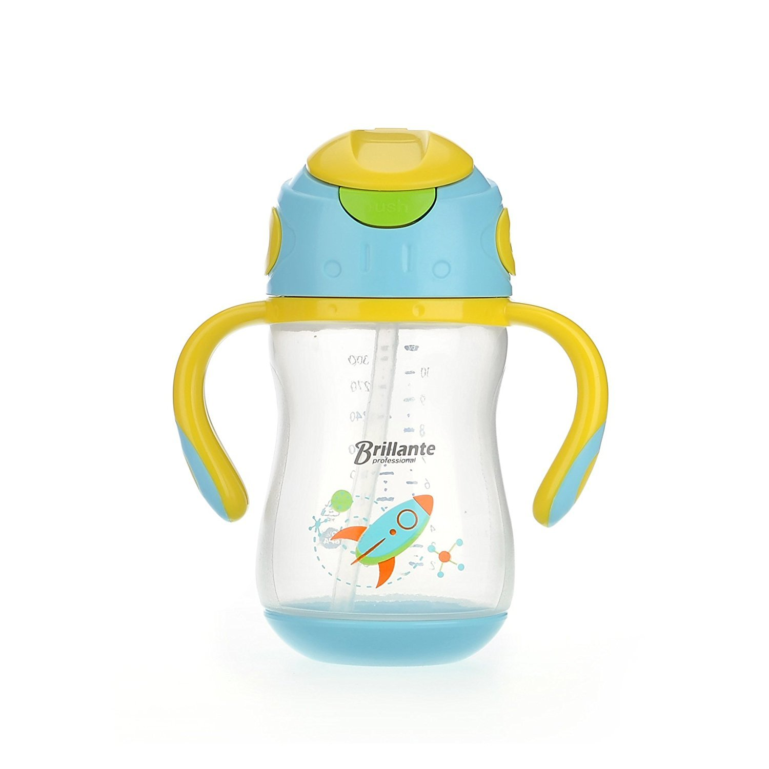 Haier Brillante Baby Straw Cup with Handle, Toddler Kids Straw Water Cups Straw Bottles, Leak Proof, BPA Free, 10oz / 300ml Haier-Baby