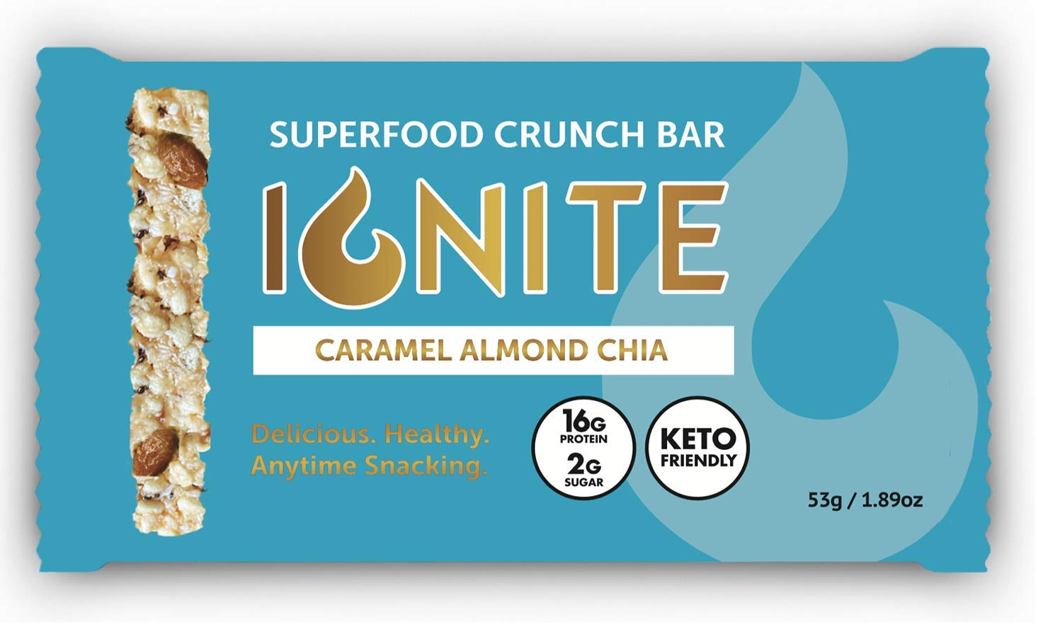 Ignite Keto Crispy Treats – Caramel Almond Chia - 12 Count - High Protein – Low Sugar - Low Carb – Gluten & Grain Free – Keto Sweets