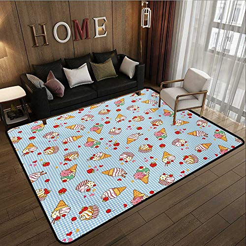 Household Decorative Floor mat,Sweet Cherries on a Checkered Tartan Motif with Hearts Love Valentines Print 6'6''x8',Can be Used for Floor Decoration by BarronTextile (Image #1)
