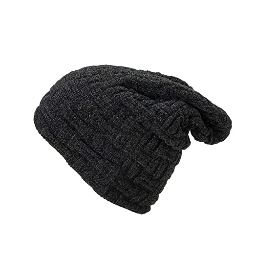 b0fdbf9add2 Unisex Slouchy Beanie Cap Knit Chenille Soft Cozy Oversized Warm Winter Hat  Women Men(Black