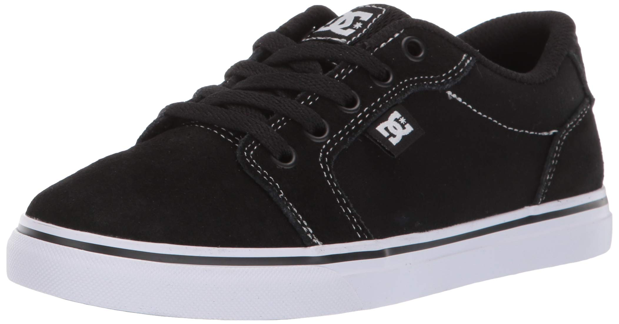 DC Boys' Anvil Skate Shoe, WHITE/BLACK/BLACK, 3.5 M US Big Kid