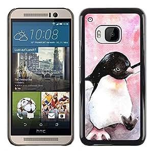 Be Good Phone Accessory // Dura Cáscara cubierta Protectora Caso Carcasa Funda de Protección para HTC One M9 // cute penguin watercolor baby pink