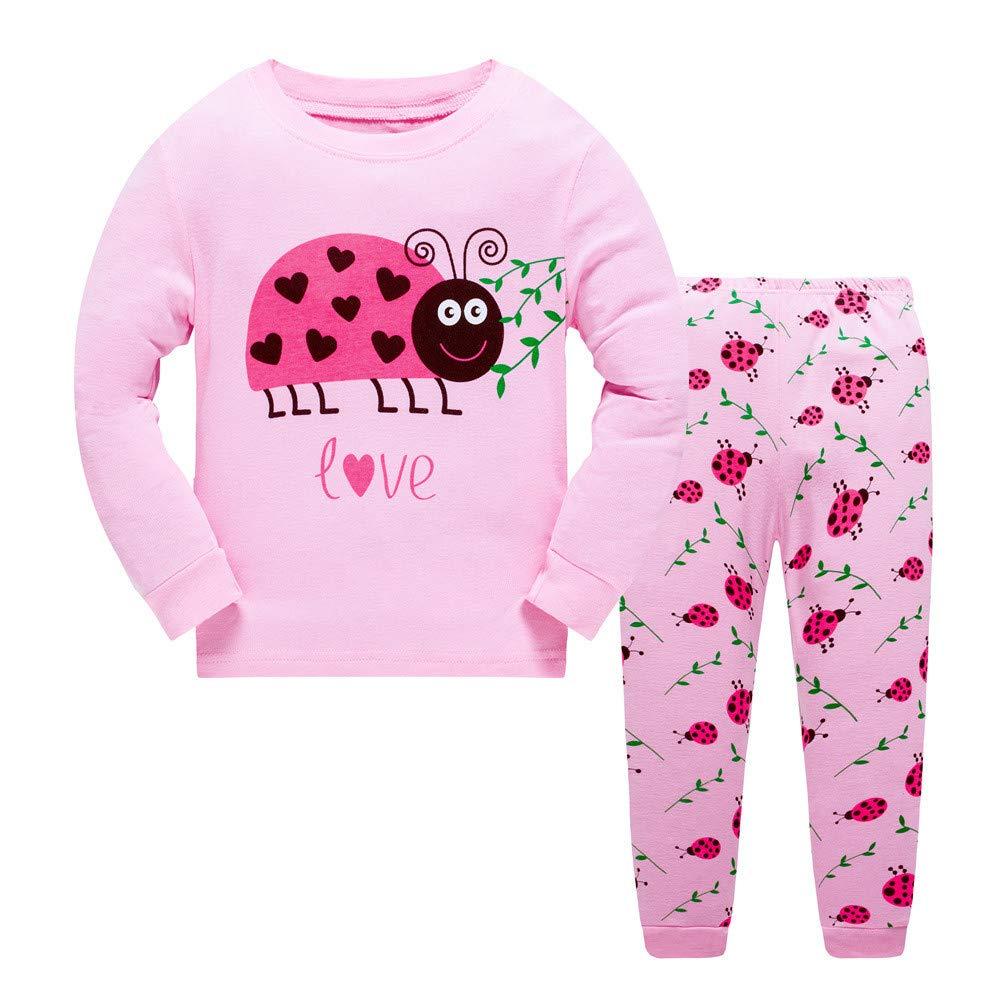 Older Grils Pyjamas for Girl Kids Toddler Ladybug Nightwear Sleepwear Long Sleeve Pjs Set Size 7-8 Years 8T