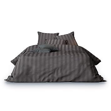 Matrazzo Bettwäsche Mako Satin 100 Baumwolle 135x200 Cm 40x80 Cm Grau Unifarben Jacquard