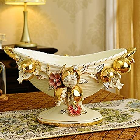European Style Ceramic Plate Living Room Decoration Ornaments Fruit Tray Plate Snack Plate D