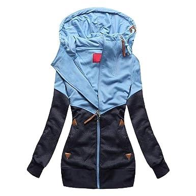 new style 7905f a5918 Sweatshirt Damen Zweifarbig Sports Hoodie Outerwear Bekleidung Langarm mit  Reißverschluss Beiläufiges Chic Herbst Winter Sweatjacke Kapuzenpullover ...