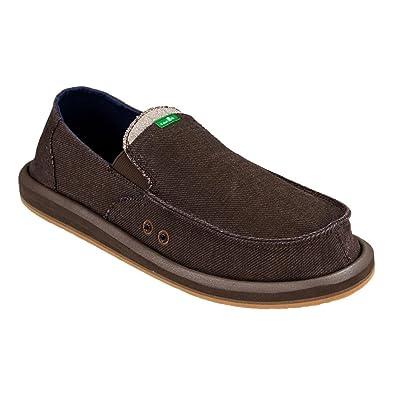 Sanuk Casual Shoes Mens Pick Pocket Denim Slip On 7 M Brown 1017927