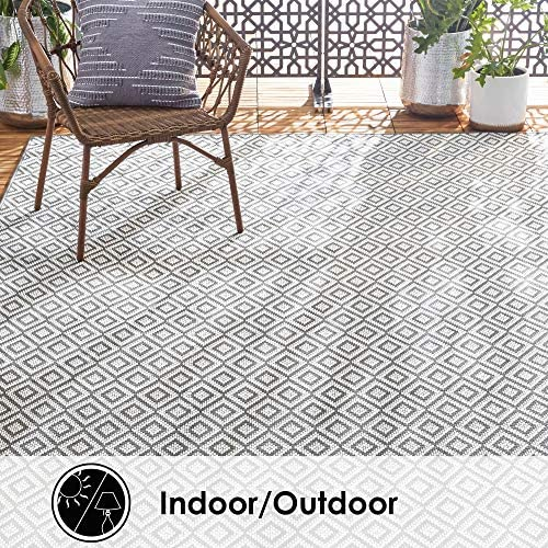 Home Dynamix Tripoli Lydia Indoor Outdoor Area Rug 5 3 x7 3 , Modern Gray
