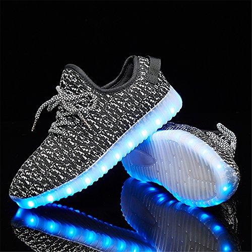 LEOVERA Herren & Damen LED-Schuhe USB Lade leuchten Schuhe blinkende Sneakers Grau