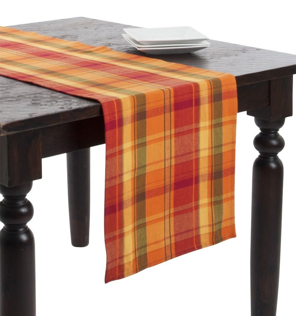 Fennco Styles Harvest Plaid Design Cotton Terracotta Table Runner (16''x108'')