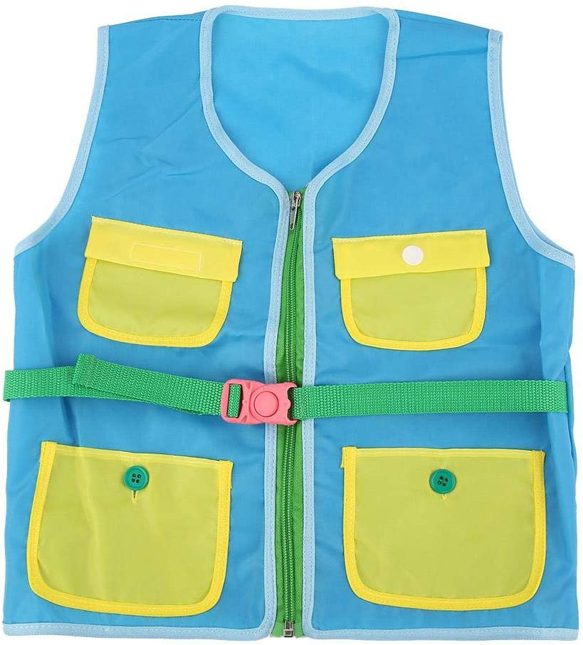 Blue Garosa Kid Vest Toy Teaching Tool Teaching Vest Toy Basic Life Skills Durable Oxford Fabric Training Ability of Dressing Vest Flexibility of Finger Buttons Skill