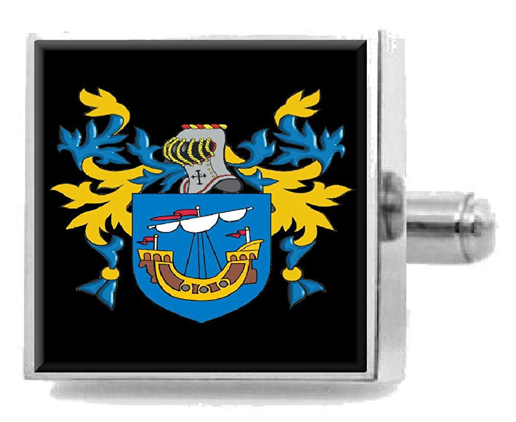 Select Gifts Wylie England Family Crest Surname Coat Of Arms Cufflinks Personalised Case