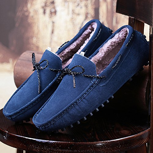 Salabobo QYY-9388W Mens Plus Velvet Stylish Casual Loafers Slip-on Moccasins Driving Shoes Blue VdI9Tt