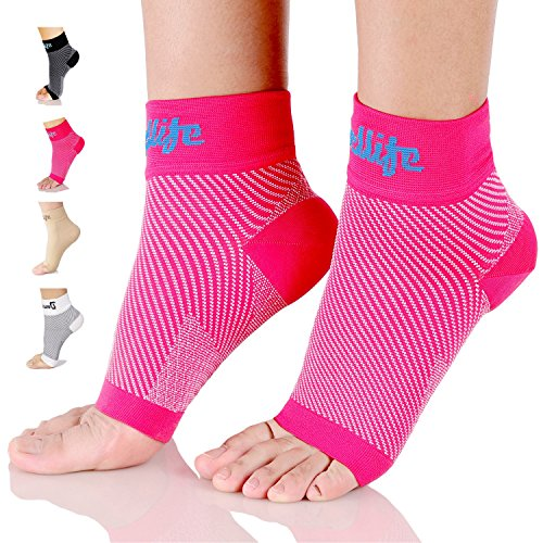 Dowellife Plantar Fasciitis Socks, Ankle Brace Compression Support Sleeves & Arch Support, Foot Compression Sleeves, Ease Swelling, Achilles Tendonitis, Heel Spurs for Men & Women (Pink L)