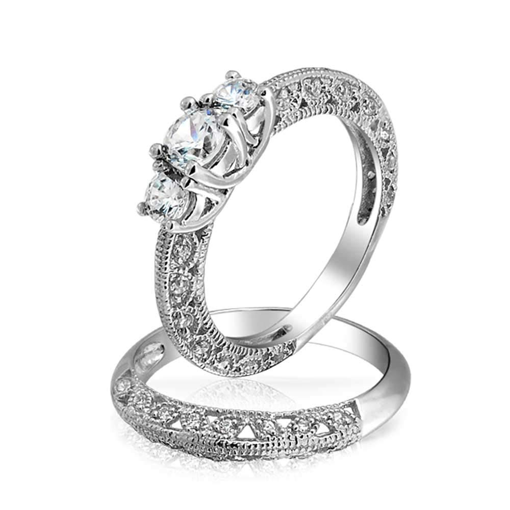 Bling Jewelry Vintage Style 3 Stone Round CZ Wedding Anniversary Ring Set 925 Sterling Silver ,9
