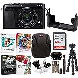 Fujifilm X-E3 Mirrorless Digital Camera w/XF23mm f/2 R WR Lens (Black) w/BLC Leather Case, 64GB Memory Card & Editing Software Bundle