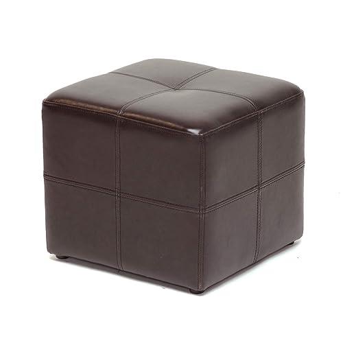 Baxton Studio Nox Brown Leather Ottoman , Dark Brown , SMALL – ST-19-Dark Brown