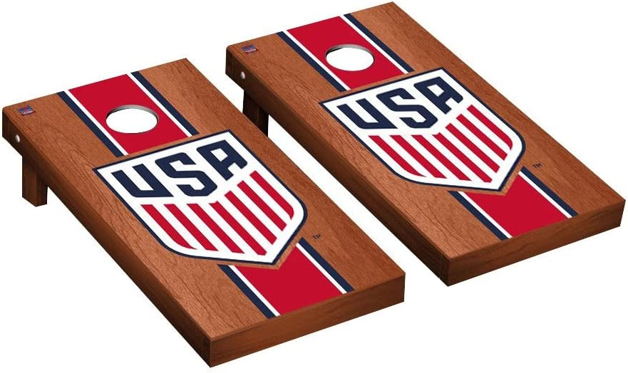 US Soccer USSF Cornhole GameセットローズウッドStainedストライプバージョン