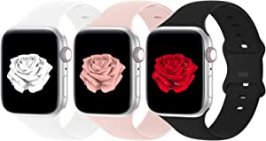 Bandiction Compatible with Apple Watch Band 38mm 40mm iWatch Bands Women Men, Soft Silicone Sport Replacement Strap Compatible for Apple Watch SE Series 6 5 4 3 2 1, Sport Edition, 3 Pack, 38/40MM