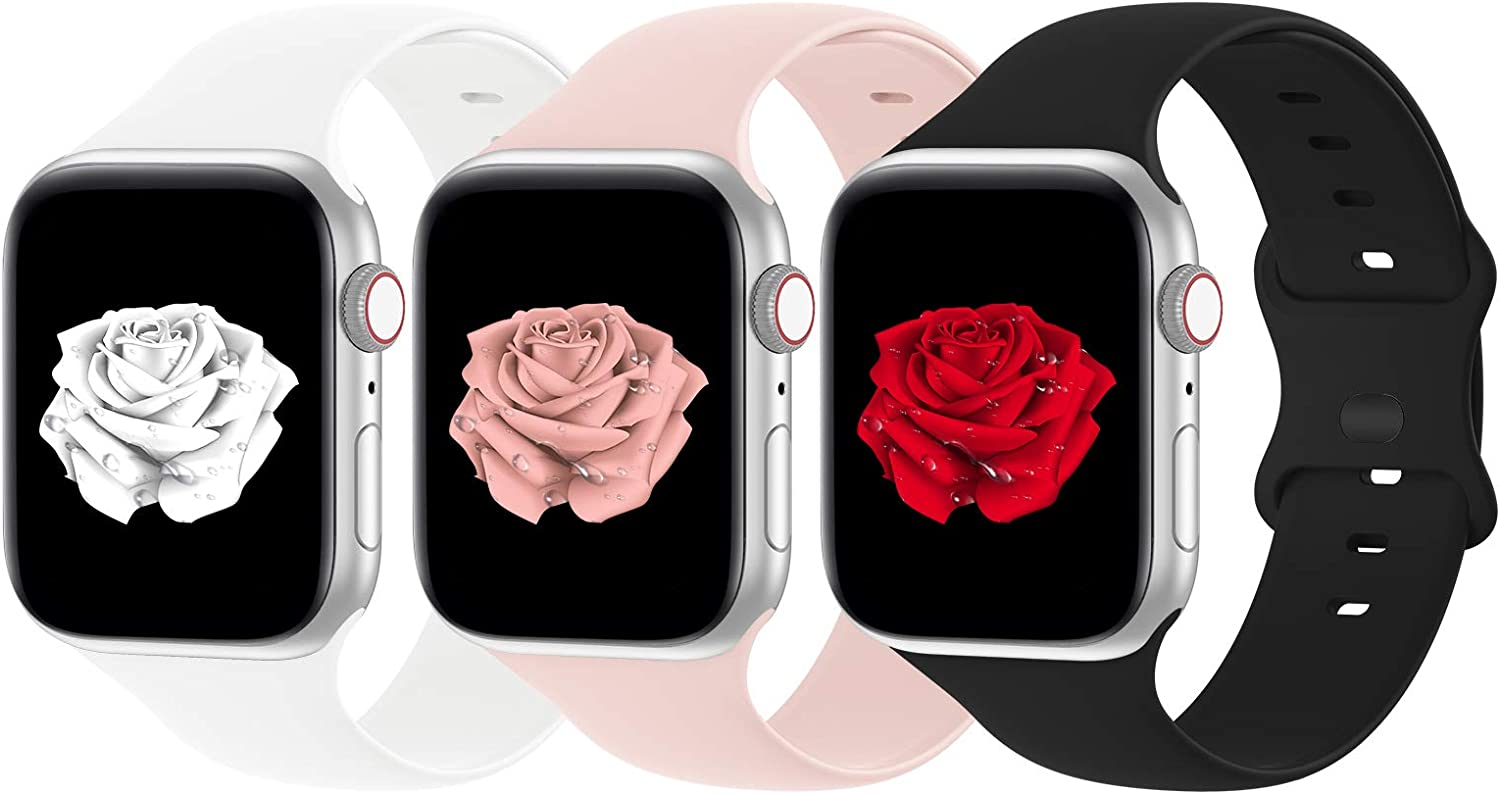 Bandiction 3-Pack Bands Compatible with Apple Watch Band 38mm 40mm 42mm 44mm for men women, Soft Silicone Sport Replacement Watch strap for iwatch Series SE/ 6/5/4/3/2/1