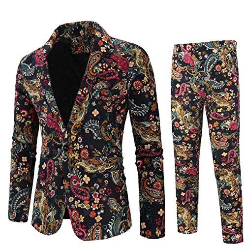 망 2 조각 인쇄 정장 꽃 파티 드레스 재킷 슬림 1 버튼 블레 이저 바지