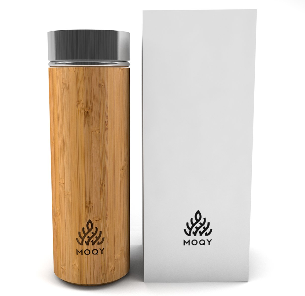 MOQY Tea Tumbler - Bamboo Stainless Steel Thermos - Insulated Coffee Travel Mug With Lid - Tea Infuser Bottle For Loose Leaf Tea - 12oz