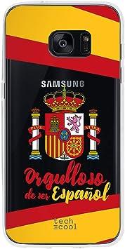 Funnytech® Funda Silicona para Samsung Galaxy S7 Edge [Gel Silicona Flexible, Diseño Exclusivo] Escudo España Orgulloso: Amazon.es: Electrónica