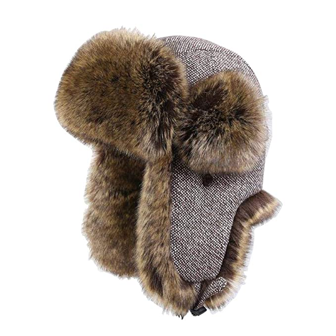 GAZHFERY Faux Fur Bomber Trapper Hat for Men Ushanka Russian Hunting Hat   Amazon.ca  Clothing   Accessories 06e30b6b033