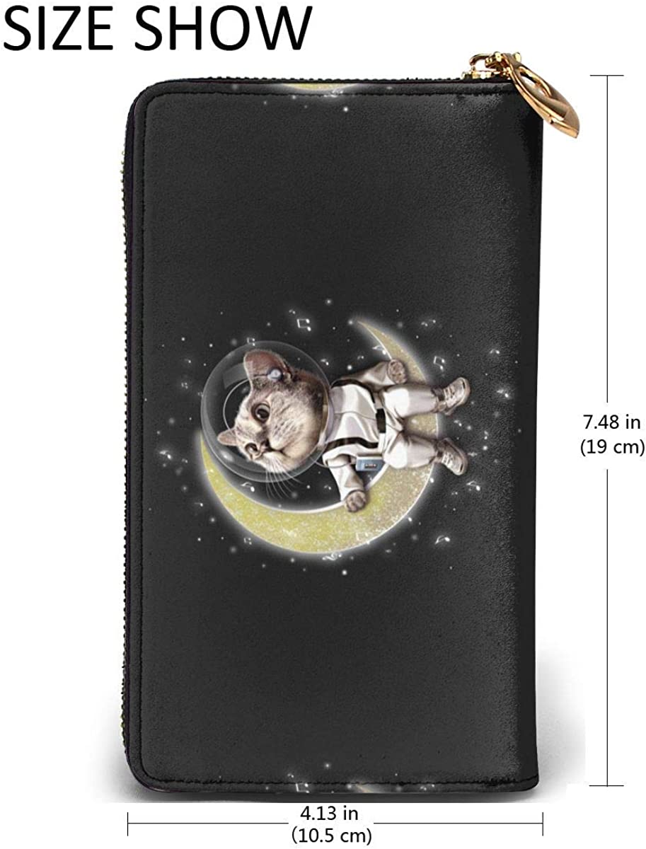 Space Kitty Sitting On The Moon Womens RFID Blocking Zip Around Wallet Genuine Leather Clutch Long Card Holder Organizer Wallets Large Travel Purse
