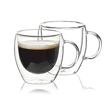 Sweese - Juego de 2 vasos de café con mango y aislamiento de doble pared