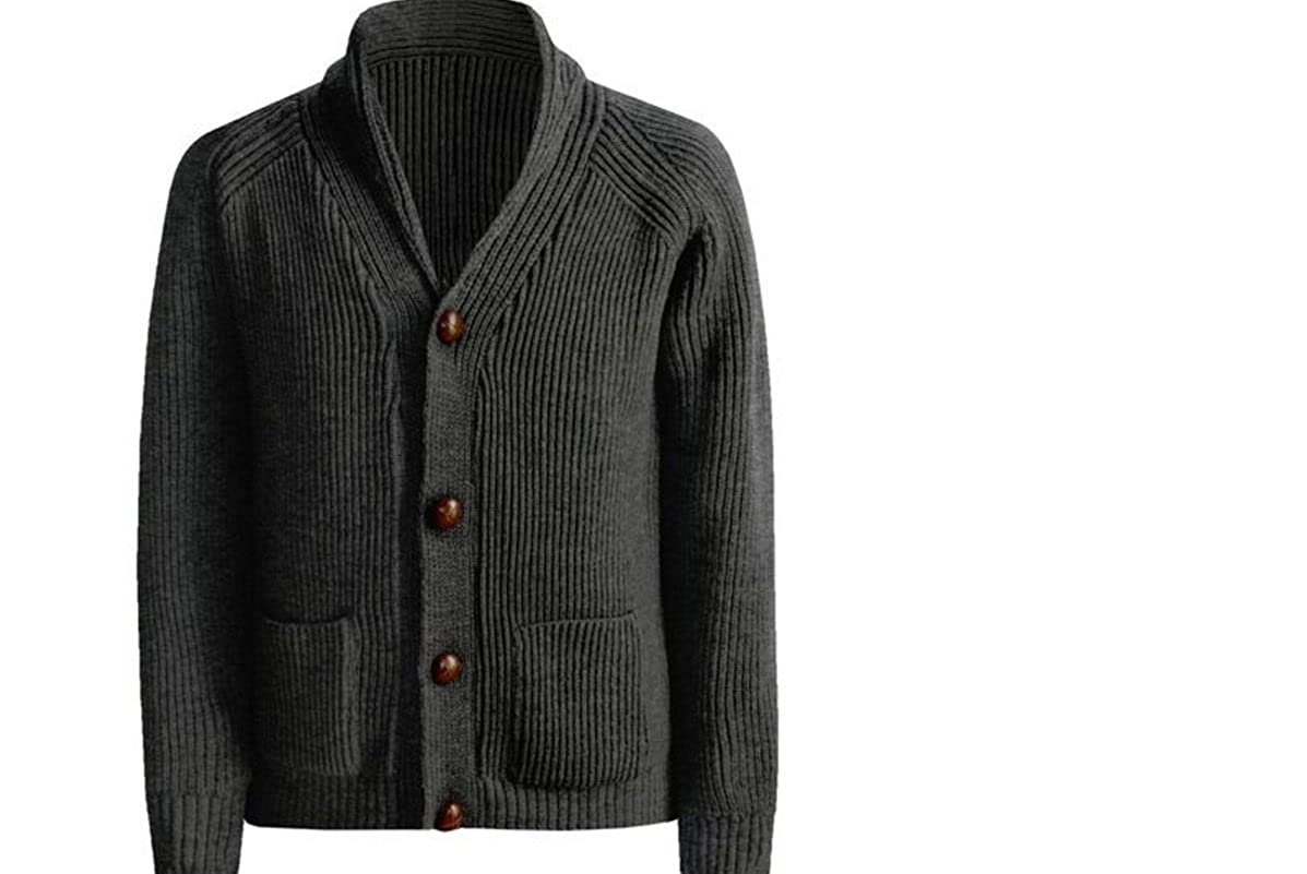 8d2b4a3af03 Peregrine by J.G. Glover Men's 100% Wool Shawl Neck, Elbow Patches Sweater