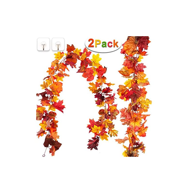 silk flower arrangements 2 pack fall thanksgiving decorations maple leaf fall garland,total 11.8ft artificial hanging vine plants autumn harvest seasonal maple wreath for indoor outdoor fall decor home party(reddish yellow)