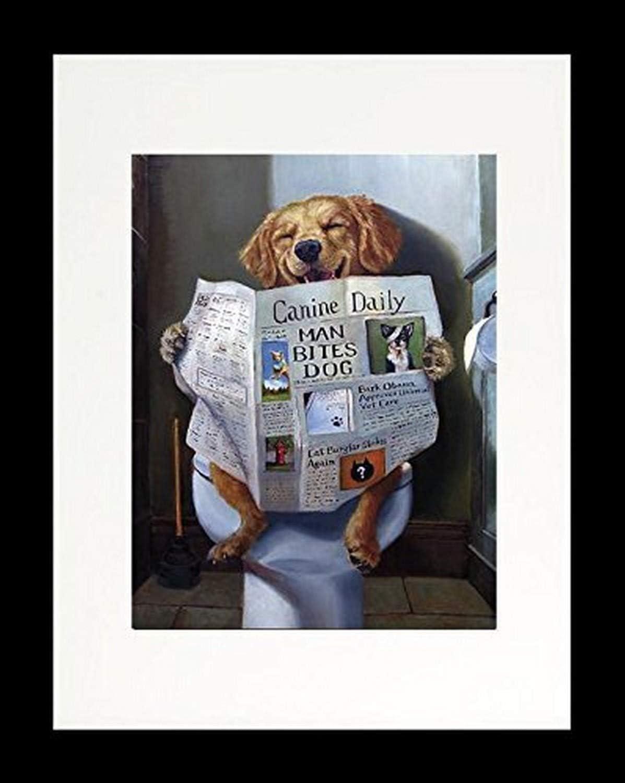 Buyartforless Framed Dog Gone Funny - Dog Reading Newspaper by Lucia Heffernan 14x11 Yellow Lab Art Print Poster Humor