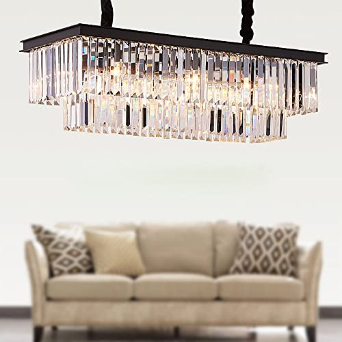 Meelighting L39.4 W10.2 Rectangle Modern Crystal Chandeliers Lighting Pendant Ceiling Lights Fixture Lamp for Dining Living Room