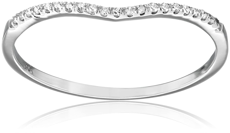 0.15 Carat (ctw) 14K Gold Round Cut Diamond Ladies Anniversary Wedding Stackable Contour Guard Band