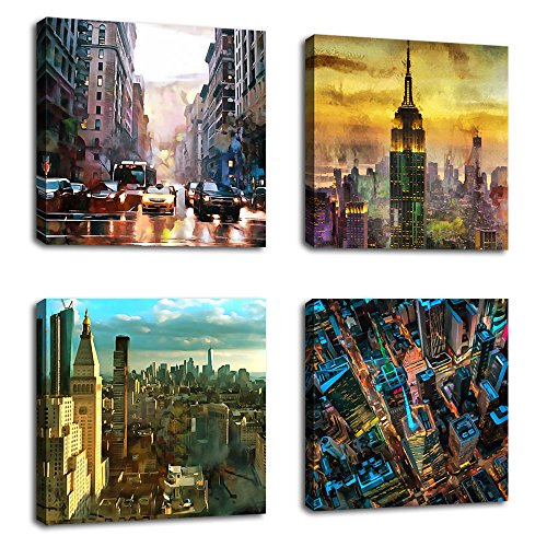 4 Piece Office Wall - Canvas Wall Art Modern NY City Skyline Painting New York Skyscraper Abstract Painting Pictures Prints Street Art for Office Wall Decor 12