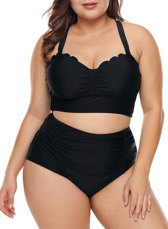 cf3cc8c04d1 Amazon.com  Dearlove Womens Plus Size Strappy Push Up High Waisted Bikini  Bathing Suits  Clothing