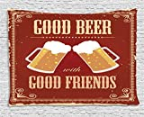 beer artwork - Ambesonne Vintage Decor Tapestry by, Good Beer with Good Friends Lettering Two Big Glass in Classic Frame Buddies Image, Wall Hanging for Bedroom Living Room Dorm, 80WX60L Inches, Red