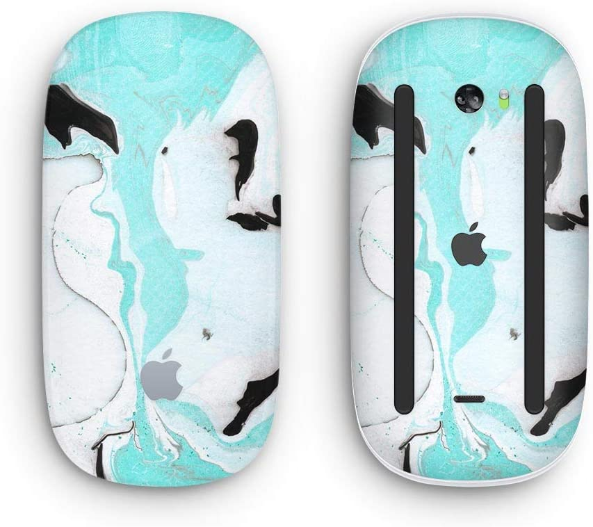 Design Skinz Premium Vinyl Decal for The Apple Magic Mouse 2 Black and Teal Textured Marble Wireless, Rechargable with Multi-Touch Surface