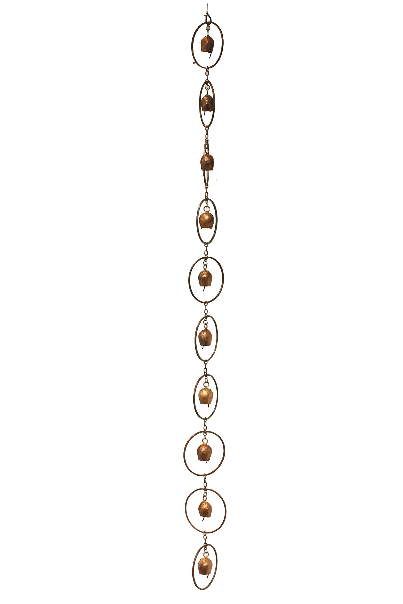 Ancient Graffiti Flamed Copper Bell Rain Chain, 4'' x 96'' x 4''