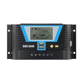 Regolatore di carica solare 20A 30A 60A 80A Pannello Solare 12V 24V 36V 48V DC con 5V 2A USB 30 A