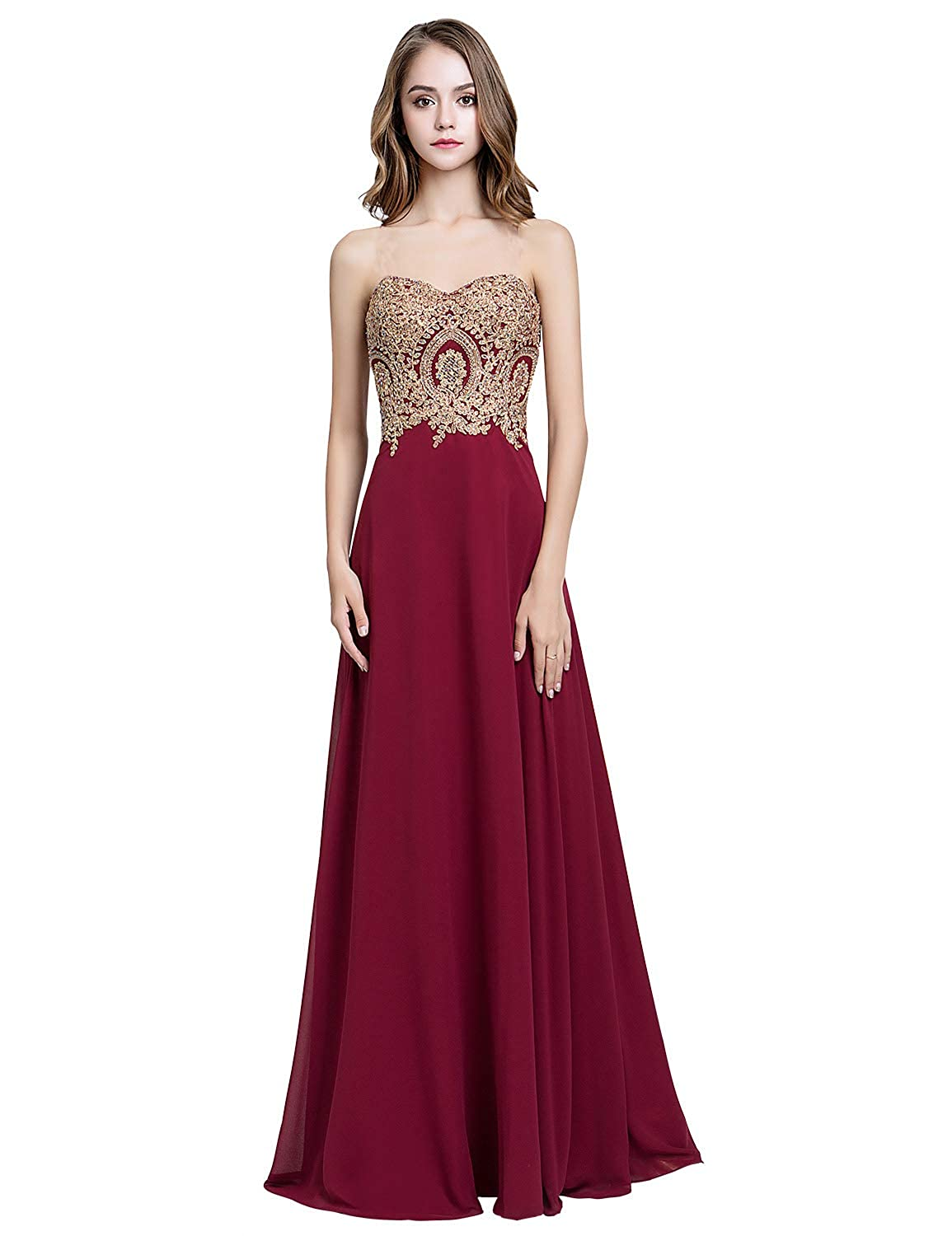7b714c63b4e Sarahbridal Juniors Sweetheart Bridesmaid Dresses Chiffon Long Prom Evening  Gown Pleated at Amazon Women s Clothing store