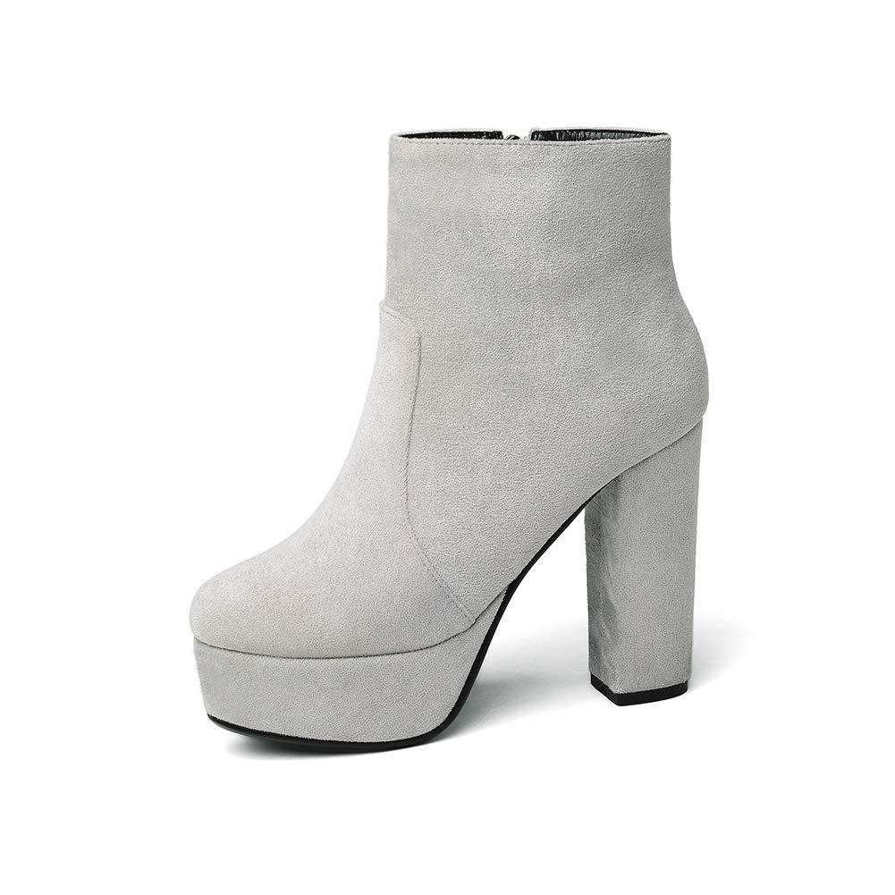 TWGDH Caviglia stivaletto tacco grosso donna Faux Faux Faux Suede comfort-suola al giorno di nozze abito da sposa indossando scarpe tacco alto d80b7a