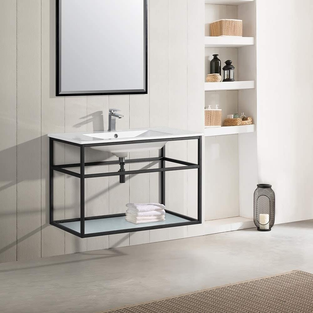 Amazon Com 36 Single Metal Frame Open Shelf Bathroom Vanity Black Modern Contemporary Includes Hardware Kitchen Dining